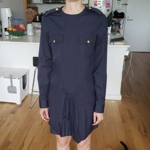 DSQUARED Military Style Dress with Gold Buttons